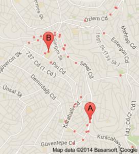 Şentepe evden eve nakliyat haritası
